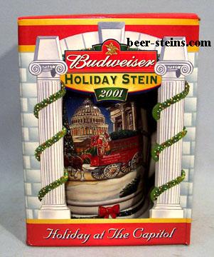 2001 holiday stein gold - Budweiser Christmas Steins