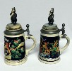2 Hamms Bear lidded steins with Bears on top - Right View