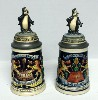 2 Hamms Bear lidded steins with Bears on top - Front View