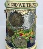 US Vintage Coin lidded stein with Eagle Figurine - Close View